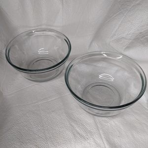 2 Anchor Hocking Clear Glass Bowls